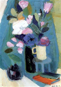pink and blue flowers in a vase by marie astoin