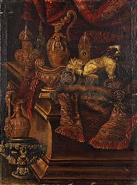 chien et horloge sur un entablement avec un tapis by antonio de pereda y saldago
