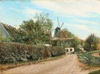 a road along a hedge. in the background a mill. late summer by laurits andersen ring