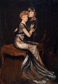 retrato de leonor uriburu de anchorena y su hijo emilio by antonio de la gandara