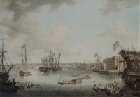 the royal visit to deptford by william woollett