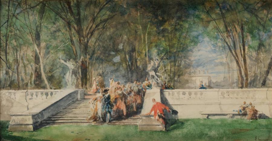 fête dans les jardins du château by ferdinand heilbuth