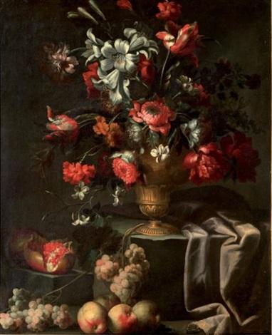 fleurs dans un vase de bronze grenades et raisins by abraham brueghel