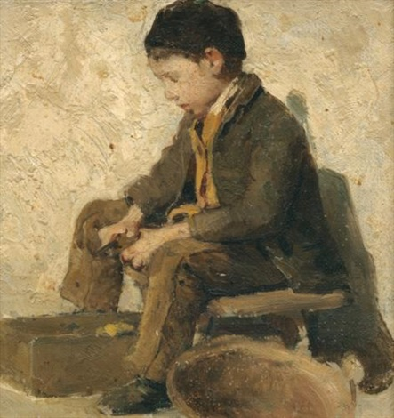sitzender knabe gemüse rüstend sitting boy peeling vegetables by albert anker