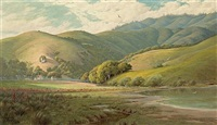 farm at the base of the hills, marin (+ fence and rolling hills, marin; pair) by jack wisby