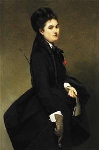 jeune femme en tenue d'amazone by louis edmond pomey