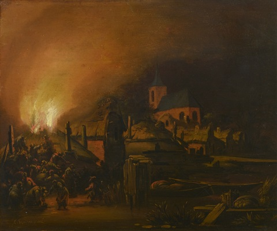 incendie dune ferme by egbert lievensz van der poel