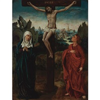 crucifixion with the virgin and st. john the evangelist by joachim patinir
