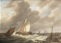sailing vessels at the mouth of an estuary by johannes hermanus koekkoek