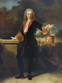 portrait d'un jeune homme sur une terrasse accompagné d'un page by jean ranc