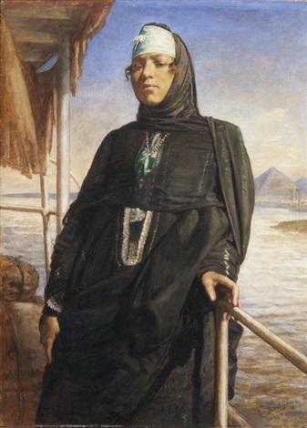 beduinenfrau auf einem nilboot mit ausblick auf eine pyramide by carl bertling