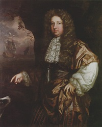 portrait of a man (john wood?) wearing silk robes and a lace cravat, standing in a coastal landscape with his dog by john greenhill