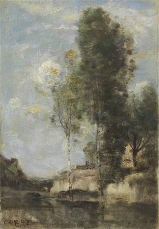 paysage aux bouleaux argentés by jean baptiste camille corot