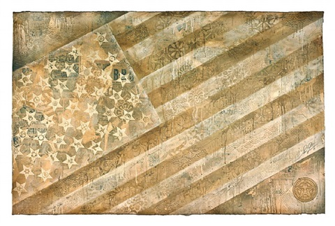 flag white by shepard fairey