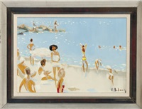 bathers by the ocean by pierre lelong