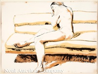 nude on a couch by philip pearlstein