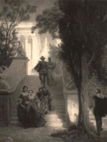 tasso and leonora in a garden by emanuel gottlieb leutze