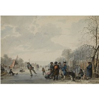 many skaters on the ice, a koek en zopie in the distance by jan anthonie langendyk
