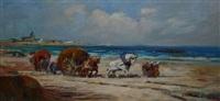 chevaux et charrette de goémons by lucien victor félix delpy