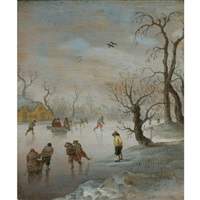 skaters and a horse-drawn sledge on a frozen waterway by anthonie van stralen