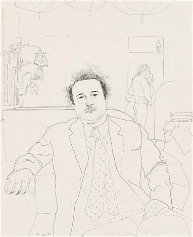 peter langan seated in odins by david hockney
