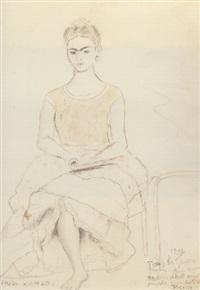 autoretrato sentada con pie vendado by frida kahlo