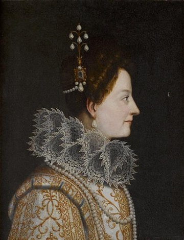 portrait of catherine de medici bust length in profile in a lace ruff and pearl headdress by jacopo da empoli chimenti