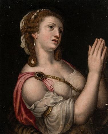femme mondaine les mains levées by michiel coxie the elder