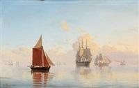 seascape with sailing ships and boats by carl emil baagöe