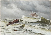 the lifeboat leaving the shore by carl ludvig thilson locher