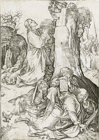 christ on the mount of olives from passion by martin schongauer