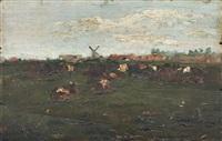 nordische landschaft mit windmühle und kühen by paul baum