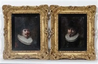 portrait figures wearing ruffs and hats (pair) by lajos koloszvary
