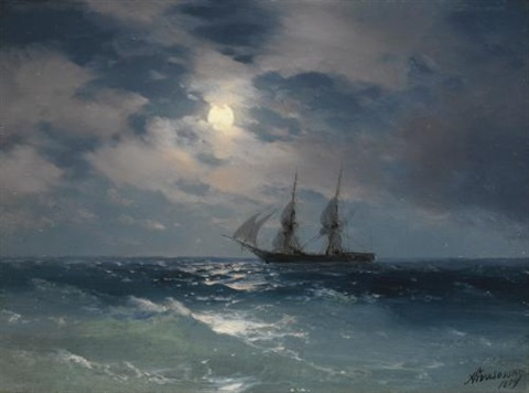 the brig mercury in moonlight by ivan konstantinovich aivazovsky