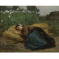 jeune moissonneuse endormie sur des gerbes de blé by jules breton