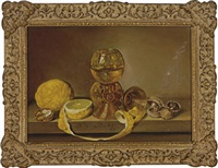 still life of two glass goblets, lemons and mushrooms on a ledge by frederick victor bailey