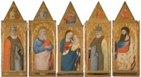 the madonna and child flanked by an evangelist, probably john, and saints peter, gregory and bartholomew (collab w/workshop)(polyptych) by giovanni del biondo