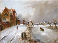 paysage enneigé hollandais by leickert