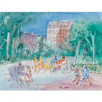 calèches et cavalier près du bois de boulogne by jean dufy