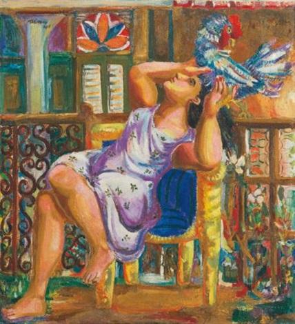 mujer con gallo by mariano rodríguez