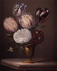 jarrón con tulipanes, peonía, pensamientos y anémonas by edouard joseph françois autrique