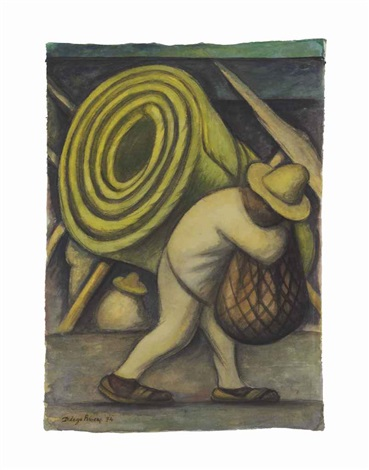 returning from the market also known as hombre cargando un petate by diego rivera