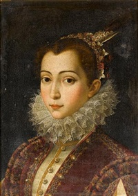 portrait of a young lady in a crimson embroidered dress with a white lace ruff and a headdress of pearls, flowers and feathers by scipione pulzone