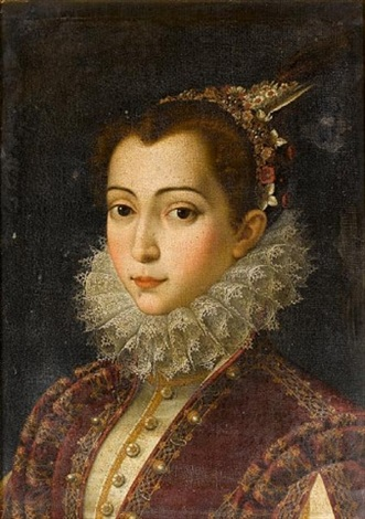 portrait of a young lady in a crimson embroidered dress with a white lace ruff and a headdress of pearls flowers and feathers by scipione pulzone