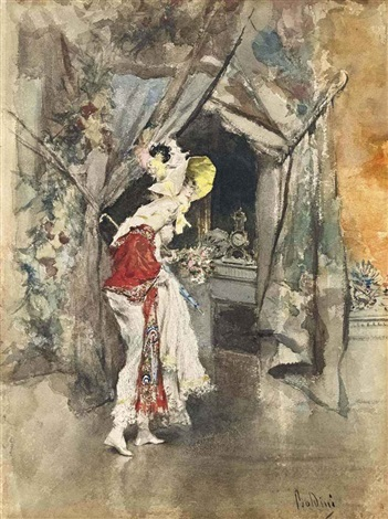 an elegant woman in an interior by giovanni boldini