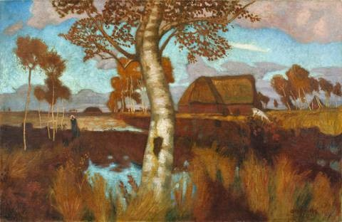 herbst im moor landscape verso by otto friedrich wilhelm modersohn