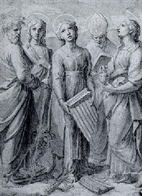 saint cecilia with saints paul, john the evangelist and mary magdalen and a bishop saint by giovanni francesco penni