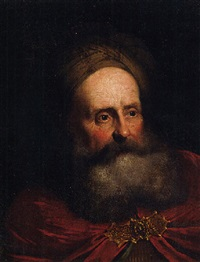 a bearded man in a turban and a red cloak by salomon koninck