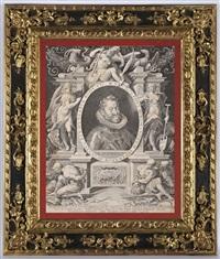 emperor rudolf ii in an allegorical frame (engraved by aegidius sadeler) by hans von aachen