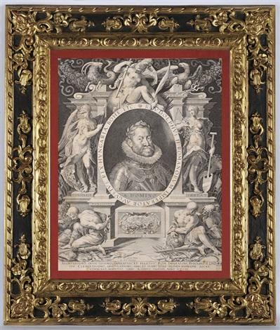 emperor rudolf ii in an allegorical frame engraved by aegidius sadeler by hans von aachen